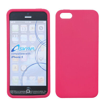 For Apple iPhone 5 5S SE Rubber SILICONE Soft Gel Skin Case Phone Cover Hot Pink