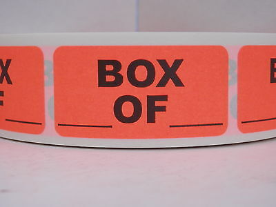 BOX _OF_  1x2 Warning Sticker Label Mailing Shipping fluorescent red 500/rl