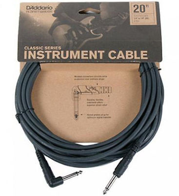 Planet Waves 20' Classic Guitar Lead.Right Angle To Straight Jacks.PW CGTRA 20