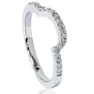 1/4CT Curved Notched Diamond Wedding Ring 14K White Gold