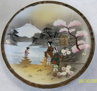 """Vintage Hand Painted Ornate Nippon Geisha Gold Guilded 6"""" Serving Dish"""