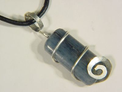 BUTW Hammered Sterling Silver Wire Wrap Kyanite Pendant FREE SP chain 6848C