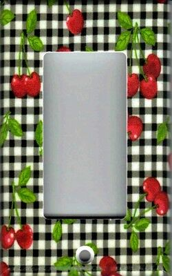 CHERRIES ON GINGHAM HOME WALL DECOR GFI OUTLET ROCKER LIGHT SWITCH PLATE