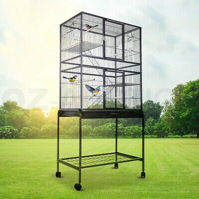 Large Stand-Alone Parrot Aviary Budgie Canary Bird Cage on Wheels