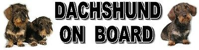 DACHSHUND ON BOARD (Wirehaired) Dog Car Sticker By Starprint