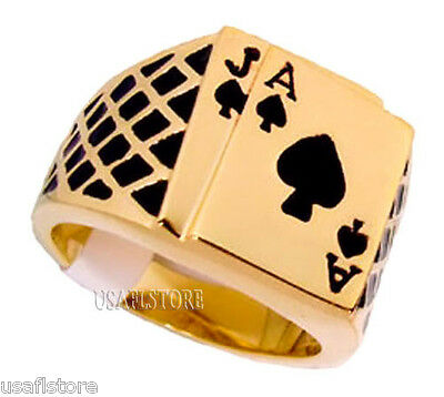 Poker Lucky Vegas Black Jack 18kt Gold Plated Ring