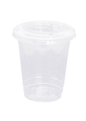 100 Clear Cups mit Domdeckel mit Loch Plastikbecher 400ml (16oz) Trinkbecher