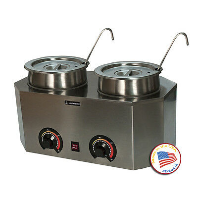 Two Well Dual Temperature Chocolate Warmer Melter Bain Marie Double Boiler 8Qt