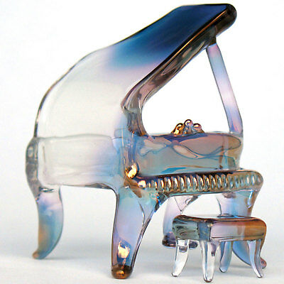 Piano Grand Figurine of Hand Blown Glass and 24K Gold