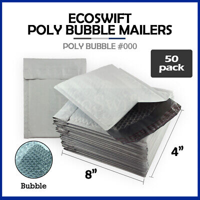 "50 #000 4x8 Poly Bubble Mailers Padded Envelope Shipping Supply Bags 4"" x 8"""
