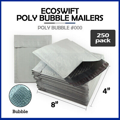 """250 #000 4x8 Poly Bubble Mailers Padded Envelope Shipping Supply Bags 4"""" x 8"""""""