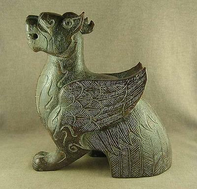 1830g WITH CARVED ANIMAL OLD CHINESE JADE STATUE MYTHICAL BEAST WITH WING