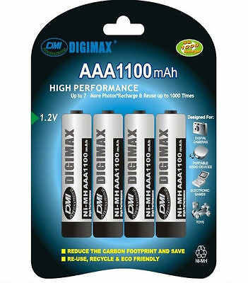 4 x AAA 1100 mAh 1.2V Rechargeable NI-MH Batteries High Quality/Power/Capacity