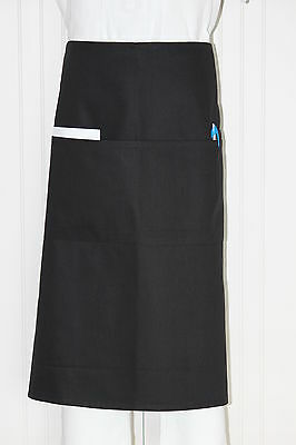 Pack of 5 Long Waist Aprons/ 2 pockets/Black or White