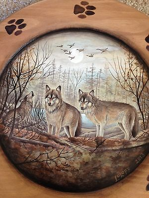 """ Wolves""  Scene on a Wooded Ridge ~ 14"" Wooden Plate, by Nancy Luloff"