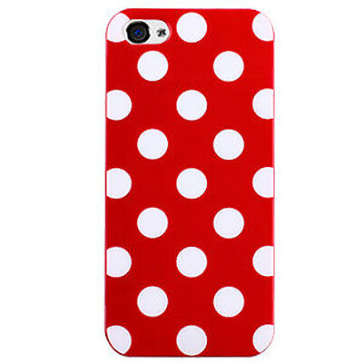 For Apple iPhone 5 5S SE TPU CANDY Gel Flexi Skin Case Cover Red Polka Dots