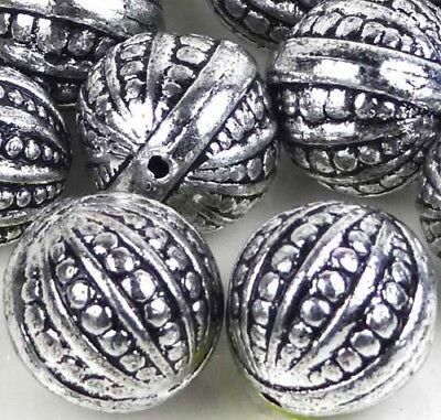 10 Large Antique Silver Metal Plated  Acrylic Round Ball  Beads 20mm