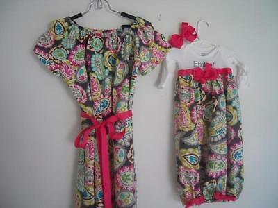 Boutique Paisley Maternity Gown & Baby Layette Gown set soo pretty look