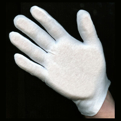 4 Doz. Pairs Medium Weight White Cotton Gloves-Men's