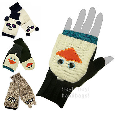 Fingerless Gloves Flip Top Mitts Knitted Fold Top Cute Mittens Ladies Girls