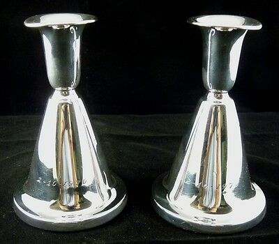 Plain Horn Shape Candle Holders Weighted Silver .830 By T. Marthinsen Norway