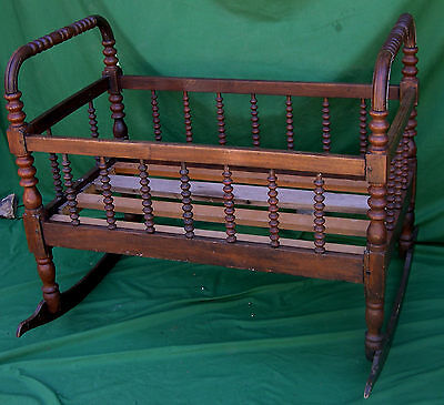 Large Antique ca. 1860'S Jenny Lind Baby Cradle in Walnit