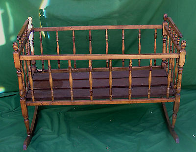 Large Late Victorian Baby Cradle with Turned Spindles and Corner  Posts