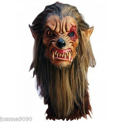Halloween Deluxe Mens Latex Horror Lobisomem Vampire Werewolf Wolf Costume Mask