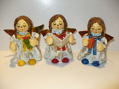 Vintage Christmas Paper Mache' Angels Set Of 3 Vgc 5 In. Tall