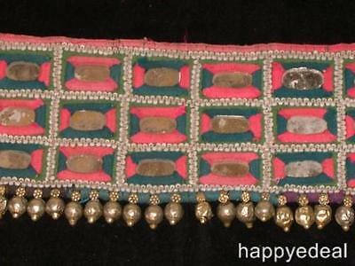 Vintage Indian Banjara Gypsy Tribal Textile Hip Belt Pink Blue White Silver $45