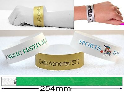 100 TYVEK WRISTBANDS Security Event Paper Like personalised custom printed plain