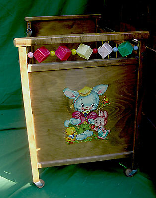 1940s 50s Maple Doll Bed with Bunny Decal and Movable Side and ABC Blocks