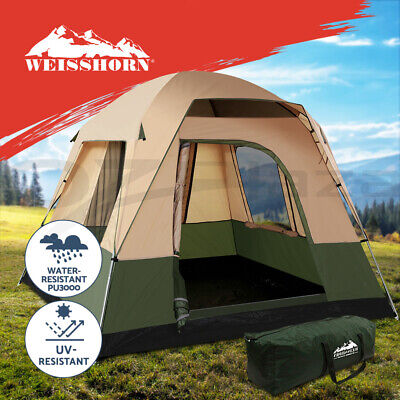 WEISSHORN 4 Person Family C&ing Tents Cabin Canvas Swag Hiking Beach  sc 1 st  PicClick AU & WEISSHORN 6 PERSON Family Camping Dome Tent Canvas Swag Hiking Beach ...
