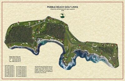 Pebble Beach Golf Links  Jack Neville  1918 Vintage Golf Course Maps print