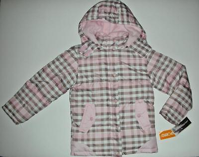NWT Sporto Girls Water Resistent Pink Brown Checked Fleece Hooded Jacket Coat 5