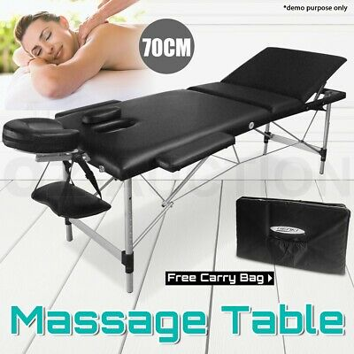 Portable 3-Section Aluminium Massage Table Bed Beauty Therapy Waxing 70 CM Black
