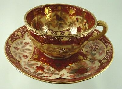 FLOWERS & BIRDS w GOLD GILT CABINET DEMITASSE CUP & SAUCER  C F BOSECK BOHEMIA