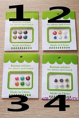 6pcs Iphone Apple Button Stickers 4 5 6 plus  Itouch Ipad tablet tab sticker