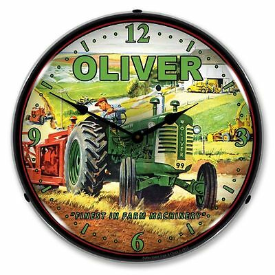 New Oliver Tractor Retro Advertising Backlit Lighted Clock - Free Shipping*