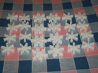 "b. Group 24 Styrofoam Snowflakes 1 9/16 - 1 15/16"" High 3 Styles Ornaments Craft"