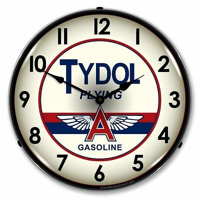 New Tydol Flying A  Gasoline  Retro Backlit Lighted Clock - Free Shipping*