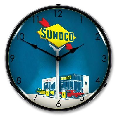 New Sunoco Gas Retro Advertising Backlit Lighted Clock - Free Shipping*
