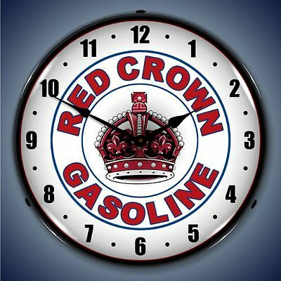 New Red Crown Gas Retro Advertising Backlit Lighted Clock -  Free Shipping*