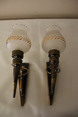 PAIR FRENCH ART DECO TORCH FORM SCONCES, circa 1940's