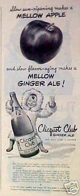 1944 Clicquot Club Ginger Ale Soda Glass Bottle Eskimo Apple B/W Promo Art AD