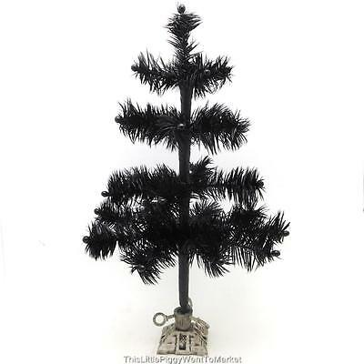 "12"" BLACK FEATHER HALLOWEEN / CHRISTMAS TREE with VINTAGE STYLE CAST IRON BASE"