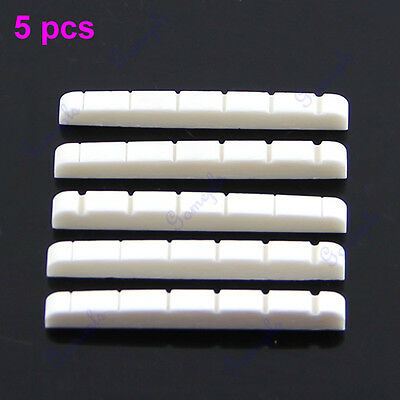 5 Pieces New Unbleached Curved Slotted Bone Nut Flat Bottom For Fender Strat