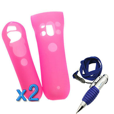 For Sony PS3 2x Move Motion and Navigation Controller Pink Silicone Case+Gift