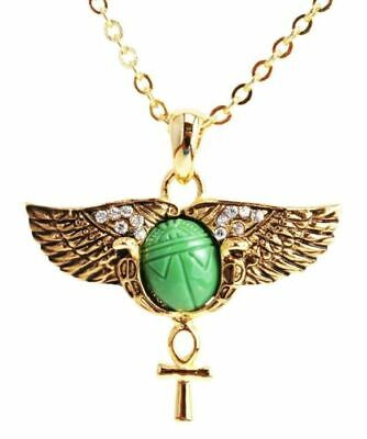 Egyptian Golden Winged Scarab And Ankh Amulet Pendant Necklace Austrian Crystals