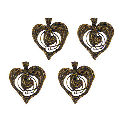 3X Vintage Style Bronze Tone Heart in Heart Pendant Charms Findings 68*63*2mm